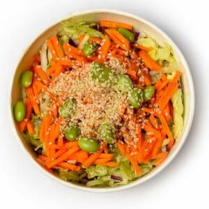 Азизтска салата с оризови нудели и едамаме